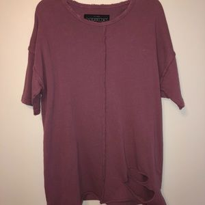 Burgundy oversized distressed tee shirt